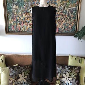 Minimalist black chiffon maxi dress M